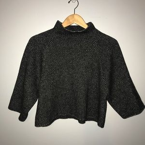 ZARA KNIT Herringbone Cropped Oversized Sweater